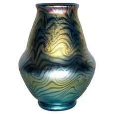 LCT Tiffany Favrile, Decorated King Tut, Damascene Vase, Gold on Blue, Beautiful