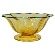 Durand Art Glass, Spanish Yellow Optic Sherbet W Lip Wrap, Elegant Dinnerware