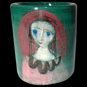 Polia Pillin, Woman Miniature Art Pottery Vase, Mid Century Modern Style