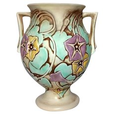"Roseville Pottery, Morning Glory 9 1/2"" Double Handled Vase Large, Beautiful"