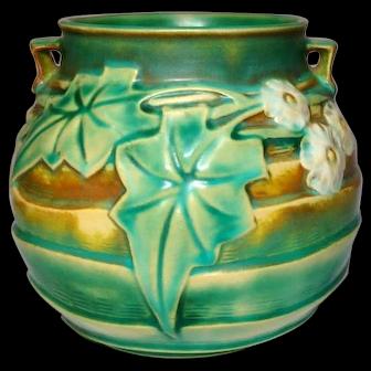 Roseville Pottery, Luffa Double Handled Rose Bowl Vase, Quite Nice, HTF