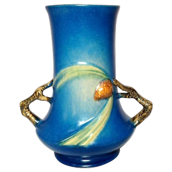 """Roseville Pottery, Pinecone, Large Blue 8"""" Double Handled Vase, Very Nice"""
