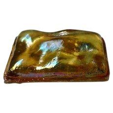 LCT Tiffany Gold Favrile, Rectangular Turtleback Tile, Rare