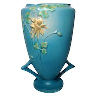 Roseville Pottery, Columbine, Large Double Handled Blue Vase, Outstanding Detail