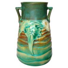 Roseville Pottery, Luffa Double Handled Vase, Quite Nice, HTF