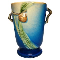 "Roseville Pottery, Pinecone, Blue 7"" Double Handled Vase, Very Nice"
