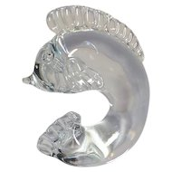 Steuben, Crystal Dolphin Sculpture, Designed by George Thompson, Circa 1940