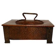 Benedict Studios, Hammered Copper Footed Humidor Box, Cigars, Tobacco, Very Nice