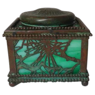 "Tiffany Studios Pine Needle 4"" Inkwell, Beaded Border, Green Glass, Patina, Nice"