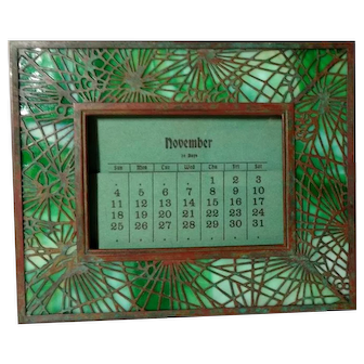 Tiffany Studios, Pine Needle Calendar w Full Set of Calendar Pages, Green Glass, Patina