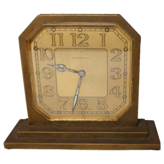 Tiffany & Co. Art Deco Style Wind Up 8 Day Clock, Excellent Working Condition