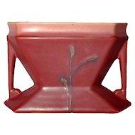 Roseville Pottery, Futura Thistle Window Vase, Salmon Persimmon, Mauve Glaze, Nice
