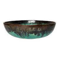 Fulper Pottery, Aqua Teal Flambe' Bowl, Planter, Great Glaze, Early Mark