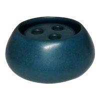 Marblehead Pottery, Blue Diminutive Squat Vase w Flower Frog, Excellent