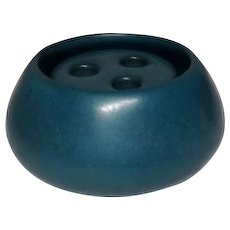 Marblehead Pottery, Blue Diminutive Squat Vase w Flower Frog, Excellent