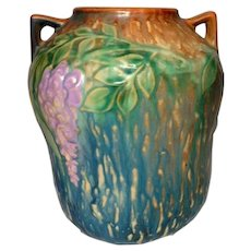 Roseville Pottery, Wisteria, Large Blue Double Handled Vase, Exceptional Color