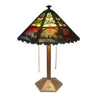 Original Bradley & Hubbard, Scenic Overlay Table Lamp, Lake View, Fabulous Glass