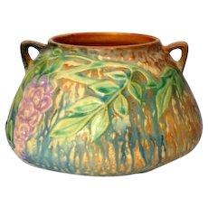 Roseville Pottery, Wisteria, Blue w Brown Double Handled Squat Vase, Planter