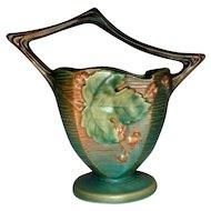 Roseville Pottery, Bushberry, Green Twig Handled Basket Vase, Sharp Detail, Nice