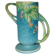 Roseville Pottery, Bushberry, Blue Double Handled Tall Vase, Nice