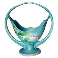 Roseville Pottery, Bleeding Heart, Blue Large Handled Basket Vase, Very Nice