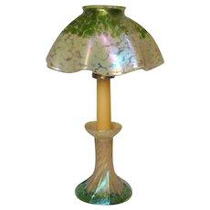 Pallme Konig, Loetz, Candle Lamp, Oil Spot, Mottled Gold & Green, Extremely Rare