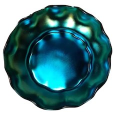 Tiffany Blue Favrile, Queen Pattern Master Salt, Beautiful Iridescence Very HTF