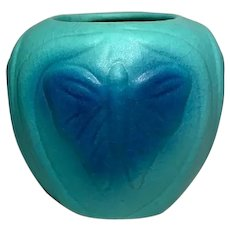 Van Briggle Pottery, Ming Turquoise Butterfly Vase, Nice 2 Toned Glaze