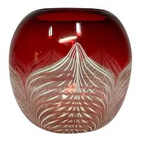 Durand Art Glass, Peacock Feathering on Ruby Red & Clear Base, Nice Vase