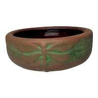 Peters & Reed, Moss Aztec Dragonfly Nut Bowl, Great Arts & Crafts Theme, HTF