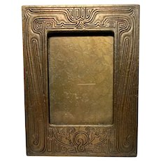 Tiffany Studios, Chinese Pattern Large Picture Frame, Aged Gold Acid Etched