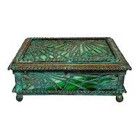Tiffany Studios, Pine Needle Utility Box, Green Glass, Patina, Beaded Border