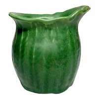 Hampshire Pottery, Matte Green Experimental Pattern Vase, Ferns, Oval Top, Nice