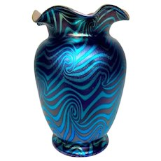 Durand Art Glass, Blue King Tut Vase, Quite Beautiful, Excellent