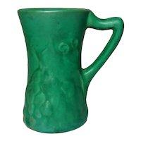 Owens Pottery, Matte Green Embossed Grapevine Mug, Corseted, Nice Deep Green