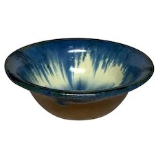 Fulper Pottery Bowl or Planter, Blue Over Cream Flambe' on Mustard Matte, Nice