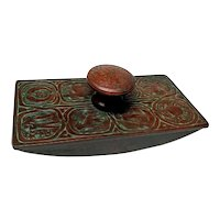 Tiffany Studios, Zodiac Rocker Blotter, Outstanding Red Green Brown Patina
