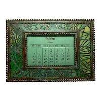 Tiffany Studios, Pine Needle Small Desk Calendar, Green Glass, Patina, Complete