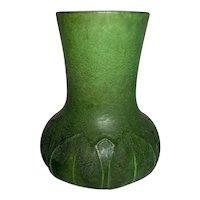 Grueby Pottery, Matte Green Overlapping Leaves, Lg Flared Vase, Marie Seaman