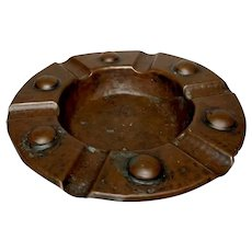 Benedict Studios, Hammered Copper Cigar Ashtray, Gus Stickley, Roycroft Era