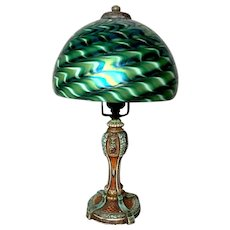 Original Victorian Poly Chrome Boudoir Base w Handel Style Art Glass Shade, Nice