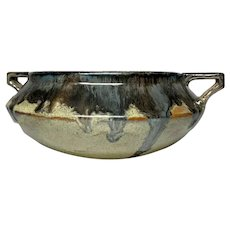 Fulper Pottery, Buttressed Handled Oatmeal Flambe' Planter, Very Rare Form