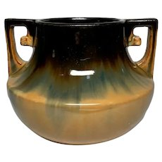 Fulper Pottery, Buttressed Handled, Cat's Eye Flambe Squat Vase, Very Nice