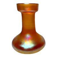 Quezal, Gold Aurene Flower Vase, Beaker Form, Excellent Iridescence, Condition