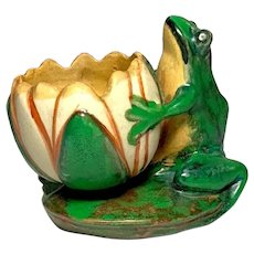 Weller Pottery, Coppertone, Frog and Lotus Blossom, Lots of Copper, Nice