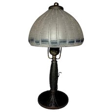 Handel Boudoir Table Lamp, Extremely Rare Arts & Crafts Design Shade & Base, Nice