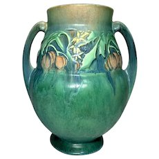 Roseville Pottery, Baneda, Large Green/Blue Double Handle Vase, Outstanding