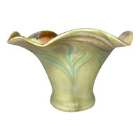 Early Tiffany Favrile Flower Form Vase, Pulled Feathering, Very Nice Coloring