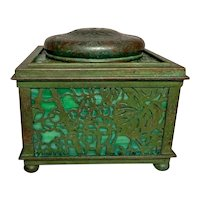 "Tiffany Studios, Grapevine 4"" Square Inkwell, Green Glass, Green Brown Patina"