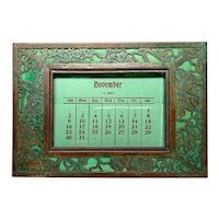 Tiffany Studios, Grapevine, Small Desk Calendar, Green Glass, Patina, Complete Pages